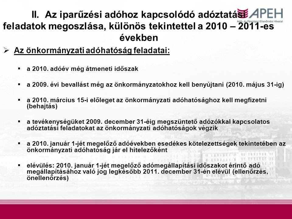 II. Az iparűzési adóhoz kapcsolódó adóztatási feladatok megoszlása, különös tekintettel a 2010 – 2011-es években  Az önkormányzati adóhatóság feladat