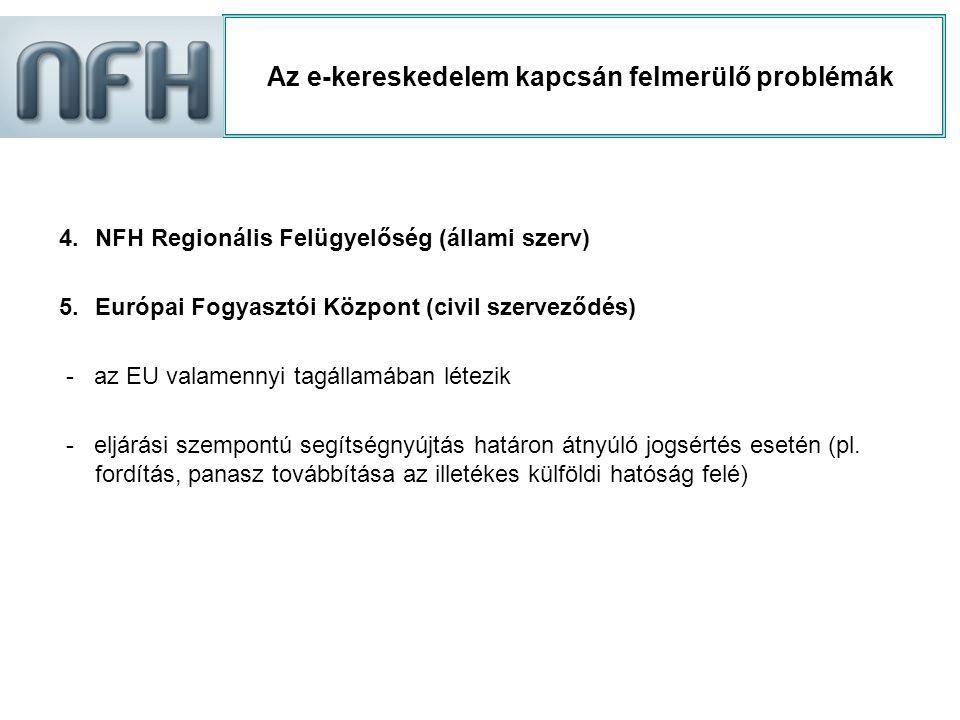 Az e-kereskedelem kapcsán felmerülő problémák 4.NFH Regionális Felügyelőség (állami szerv) 5.Európai Fogyasztói Központ (civil szerveződés) - az EU va