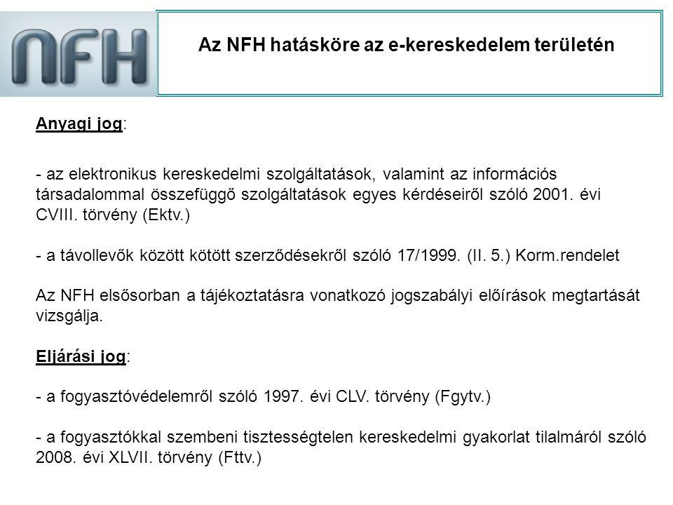 Az NFH hatásköre az e-kereskedelem területén Anyagi jog: - az elektronikus kereskedelmi szolgáltatások, valamint az információs társadalommal összefüg