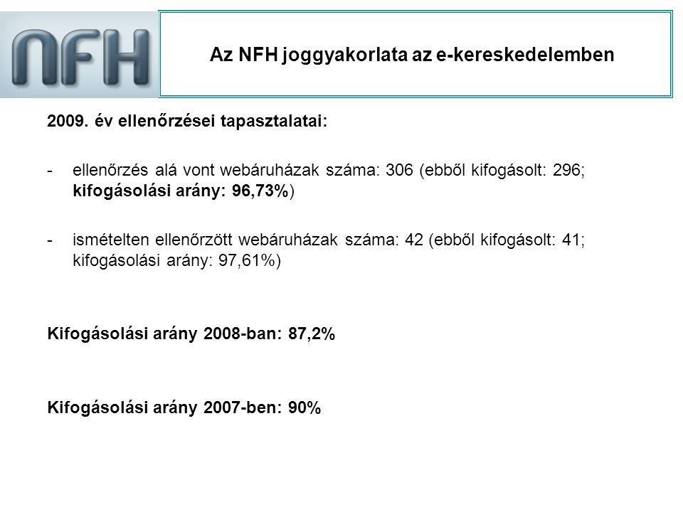 Az NFH joggyakorlata az e-kereskedelemben 2009. év ellenőrzései tapasztalatai: -ellenőrzés alá vont webáruházak száma: 306 (ebből kifogásolt: 296; kif