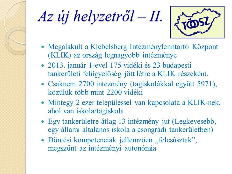 Az új helyzetről – II. Megalakult a Klebelsberg Intézményfenntartó Központ (KLIK) az ország legnagyobb intézménye 2013. január 1-evel 175 vidéki és 23