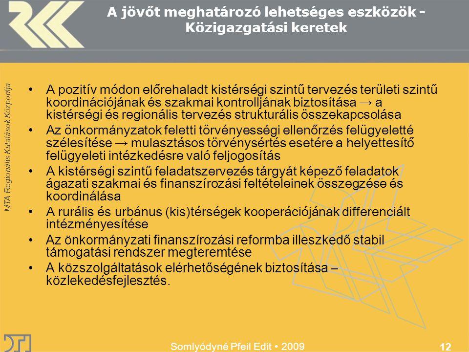 MTA Regionális Kutatások Központja Somlyódyné Pfeil Edit 2009 12 A jövőt meghatározó lehetséges eszközök - Közigazgatási keretek A pozitív módon előrehaladt kistérségi szintű tervezés területi szintű koordinációjának és szakmai kontrolljának biztosítása → a kistérségi és regionális tervezés strukturális összekapcsolása Az önkormányzatok feletti törvényességi ellenőrzés felügyeletté szélesítése → mulasztásos törvénysértés esetére a helyettesítő felügyeleti intézkedésre való feljogosítás A kistérségi szintű feladatszervezés tárgyát képező feladatok ágazati szakmai és finanszírozási feltételeinek összegzése és koordinálása A rurális és urbánus (kis)térségek kooperációjának differenciált intézményesítése Az önkormányzati finanszírozási reformba illeszkedő stabil támogatási rendszer megteremtése A közszolgáltatások elérhetőségének biztosítása – közlekedésfejlesztés.
