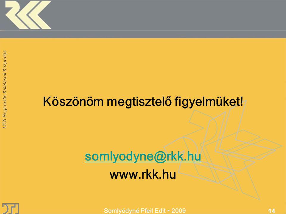 MTA Regionális Kutatások Központja Somlyódyné Pfeil Edit 2009 14 Köszönöm megtisztelő figyelmüket.