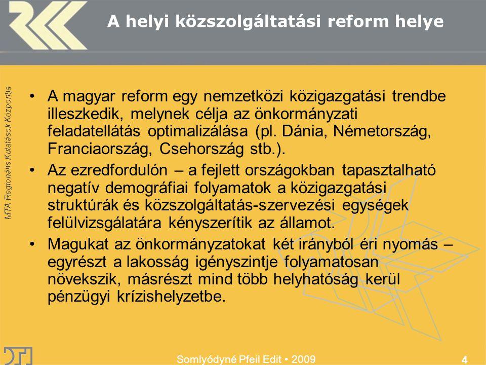 MTA Regionális Kutatások Központja Somlyódyné Pfeil Edit 2009 4 A helyi közszolgáltatási reform helye A magyar reform egy nemzetközi közigazgatási trendbe illeszkedik, melynek célja az önkormányzati feladatellátás optimalizálása (pl.