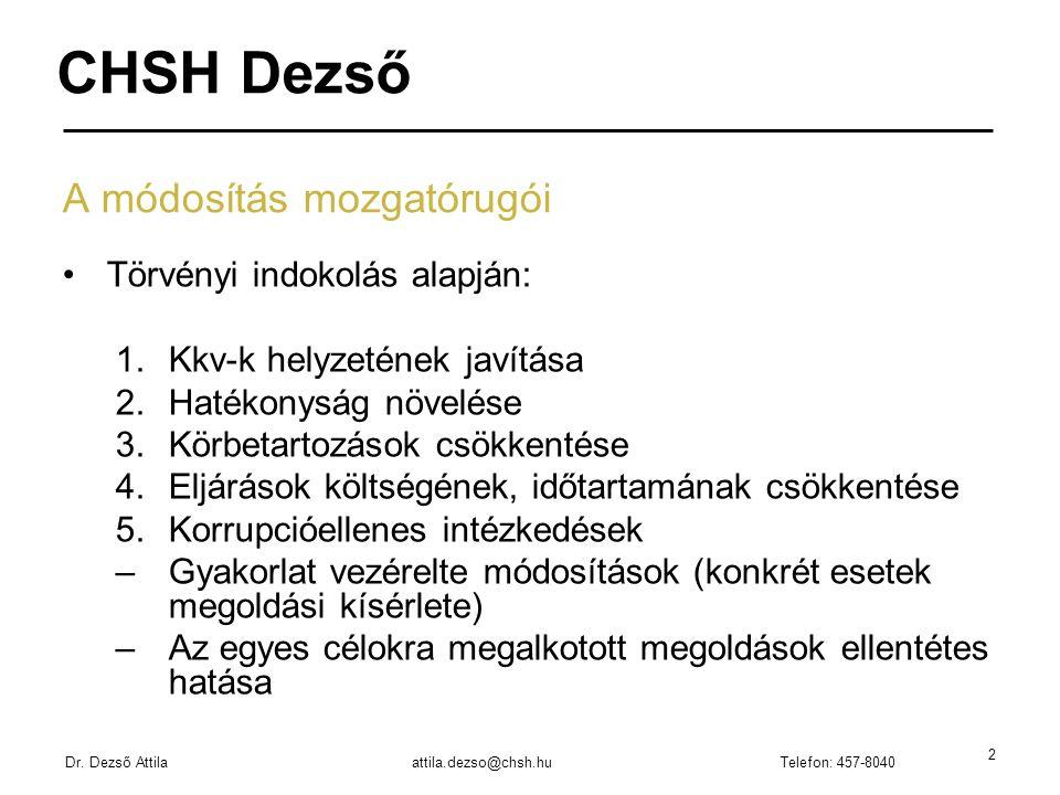 Dr. Dezső Attilaattila.dezso@chsh.huTelefon: 457-8040 2 A módosítás mozgatórugói Törvényi indokolás alapján: 1.Kkv-k helyzetének javítása 2.Hatékonysá