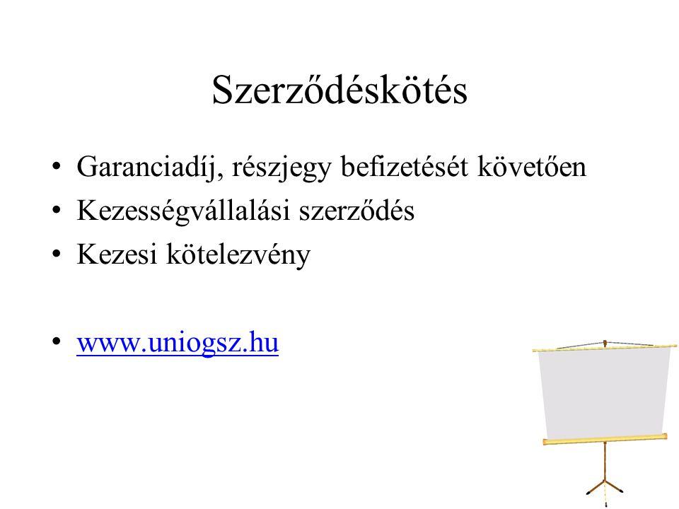 Szerződéskötés Garanciadíj, részjegy befizetését követően Kezességvállalási szerződés Kezesi kötelezvény www.uniogsz.hu