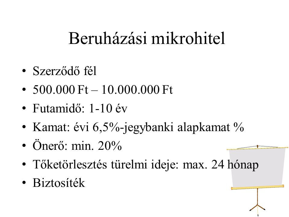 Beruházási mikrohitel Szerződő fél 500.000 Ft – 10.000.000 Ft Futamidő: 1-10 év Kamat: évi 6,5%-jegybanki alapkamat % Önerő: min.