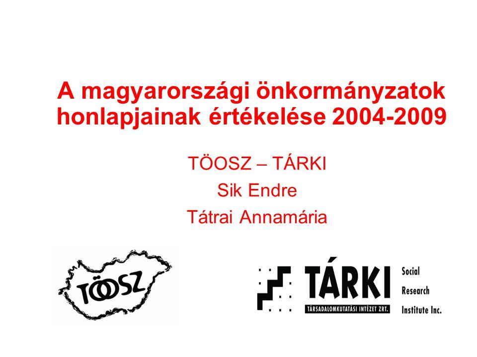 A magyarországi önkormányzatok honlapjainak értékelése 2004-2009 TÖOSZ – TÁRKI Sik Endre Tátrai Annamária