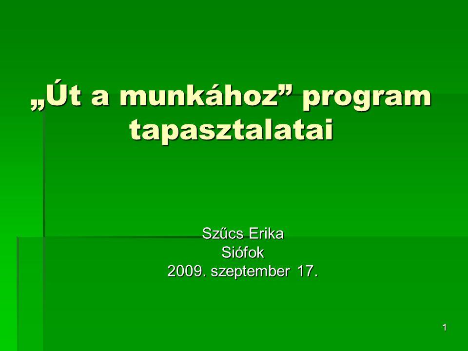 """1 """"Út a munkához program tapasztalatai Szűcs Erika Siófok 2009. szeptember 17."""
