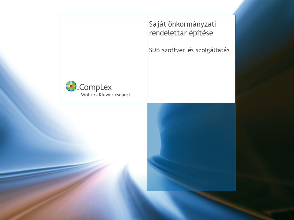 Saját önkormányzati rendelettár építése SDB szoftver és szolgáltatás