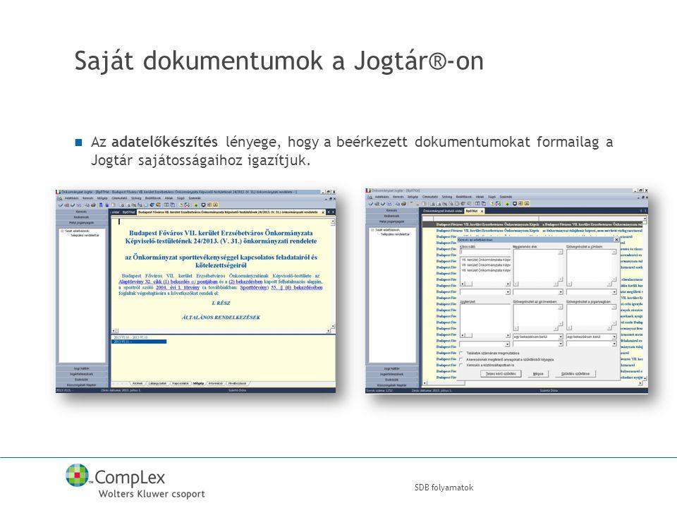 SDB folyamatok Saját dokumentumok a Jogtár®-on Az adatelőkészítés lényege, hogy a beérkezett dokumentumokat formailag a Jogtár sajátosságaihoz igazítjuk.