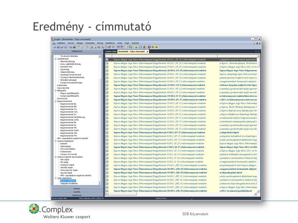 Eredmény - címmutató SDB folyamatok