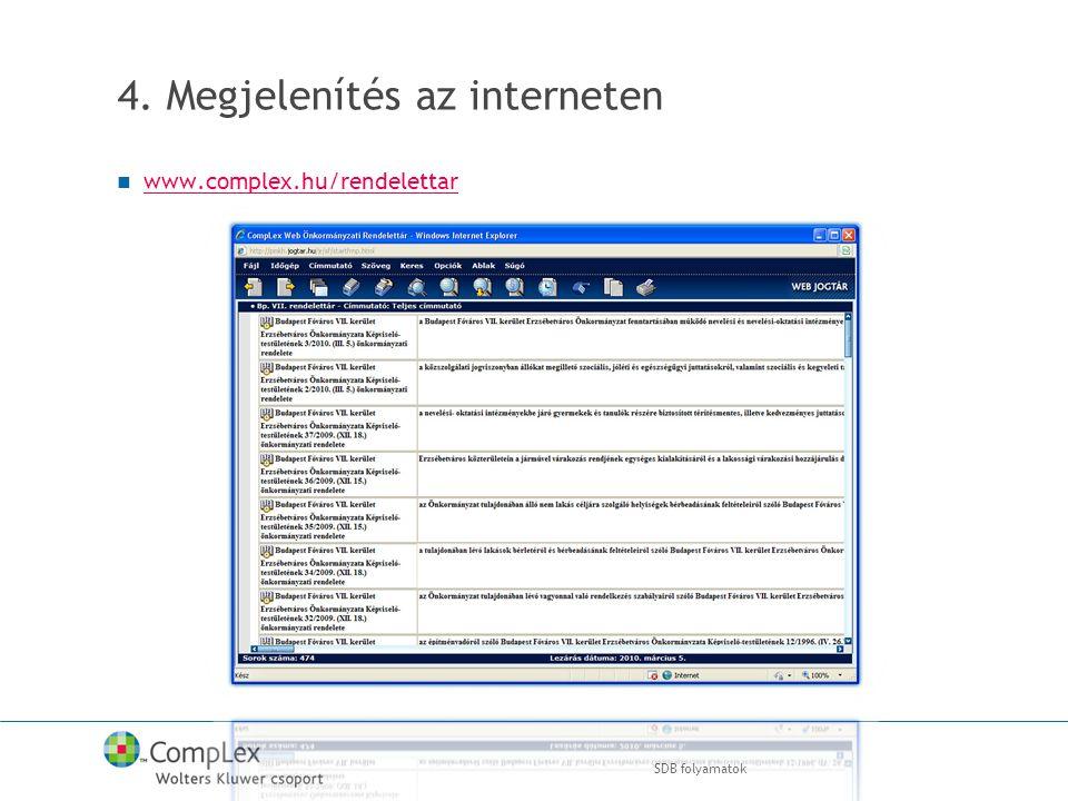 4. Megjelenítés az interneten www.complex.hu/rendelettar