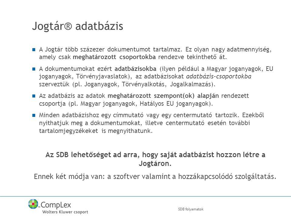 Jogtár® adatbázis A Jogtár több százezer dokumentumot tartalmaz.