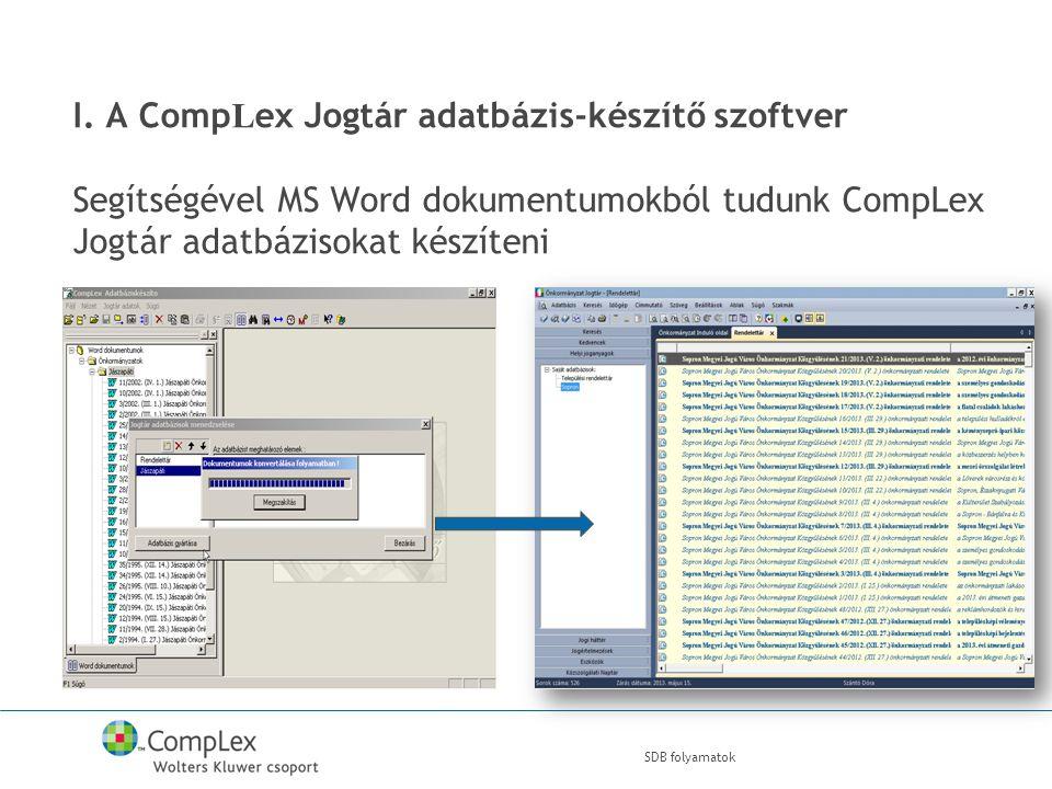 I. A Comp L ex Jogtár adatbázis-készítő szoftver Segítségével MS Word dokumentumokból tudunk CompLex Jogtár adatbázisokat készíteni