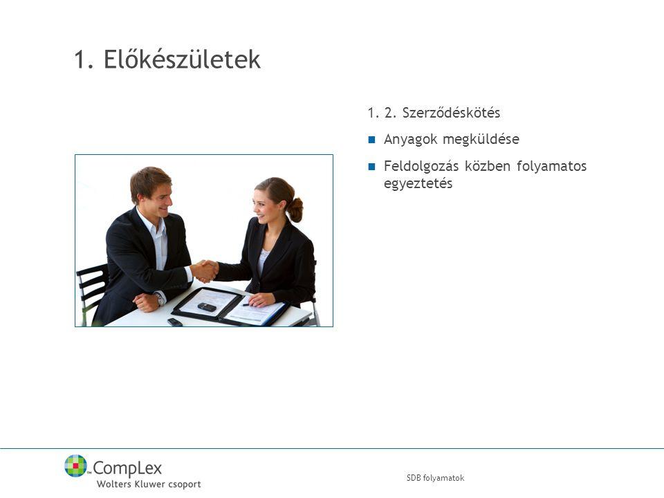 SDB folyamatok 1. Előkészületek 1. 2.