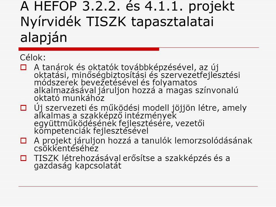 A HEFOP 3.2.2. és 4.1.1. projekt Nyírvidék TISZK tapasztalatai alapján Célok:  A tanárok és oktatók továbbképzésével, az új oktatási, minőségbiztosít