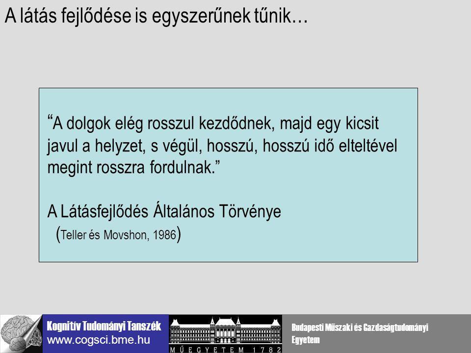 Kognitív Tudományi Tanszék www.cogsci.bme.hu Budapesti Műszaki és Gazdaságtudományi Egyetem D > 1 D < 1 D = zajelemek távolsága / kontúrelemek távolsága