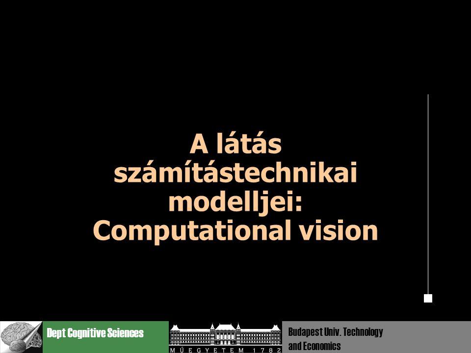 Dept Cognitive Sciences Budapest Univ. Technology and Economics A látás számítástechnikai modelljei: Computational vision