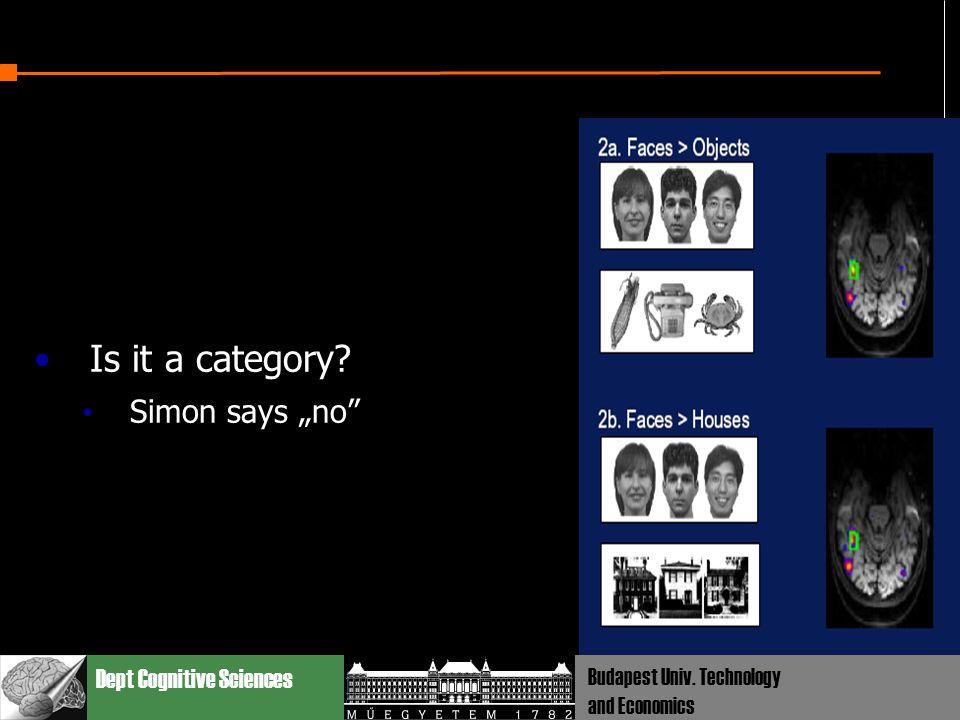 "Dept Cognitive Sciences Budapest Univ. Technology and Economics Is it a category? Simon says ""no"""