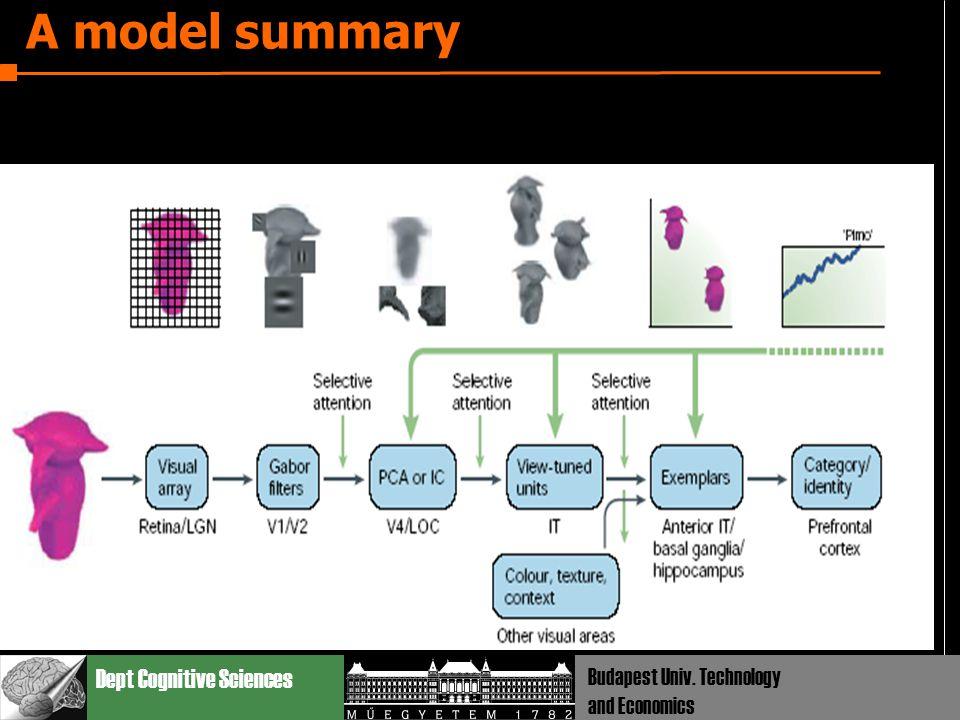 Dept Cognitive Sciences Budapest Univ. Technology and Economics A model summary