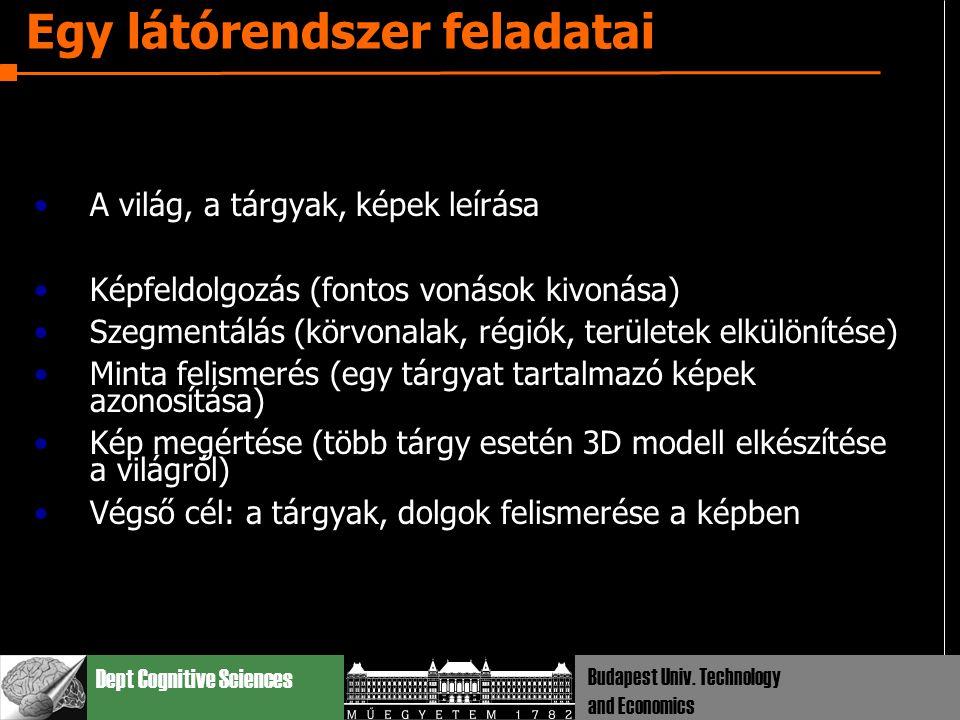 Dept Cognitive Sciences Budapest Univ. Technology and Economics Egy látórendszer feladatai A világ, a tárgyak, képek leírása Képfeldolgozás (fontos vo