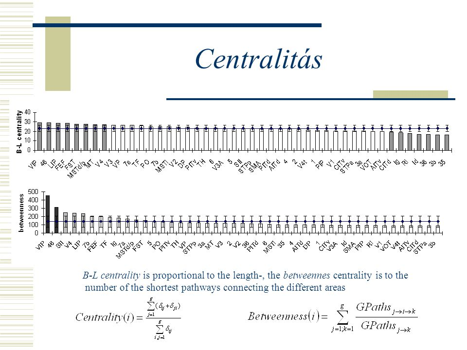 Centralitás B-L centrality is proportional to the length-, the betweennes centrality is to the number of the shortest pathways connecting the different areas