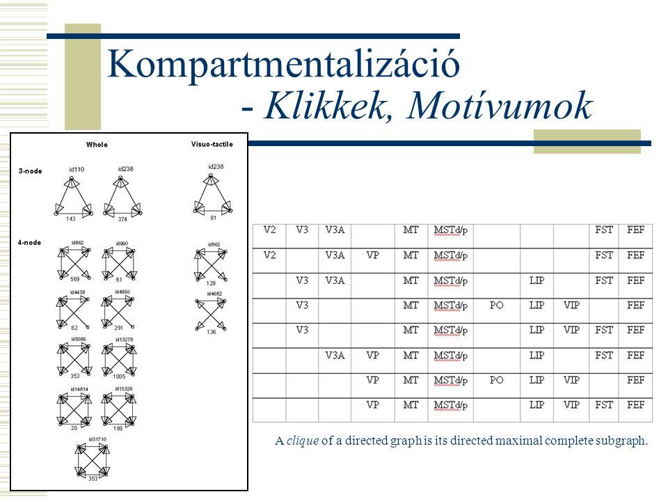 Kompartmentalizáció - Klikkek, Motívumok A clique of a directed graph is its directed maximal complete subgraph.