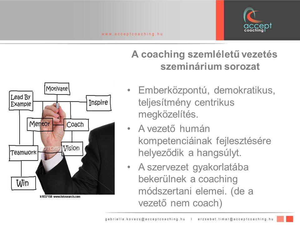 A coaching szemléletű vezetés szeminárium sorozat Emberközpontú, demokratikus, teljesítmény centrikus megközelítés.