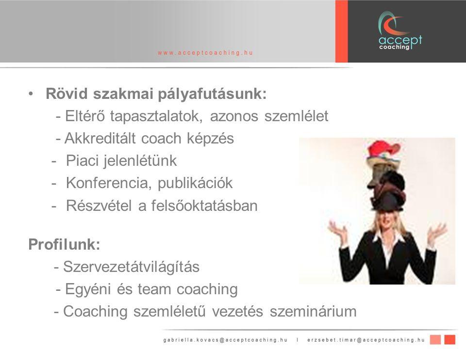 Rövid szakmai pályafutásunk: - Eltérő tapasztalatok, azonos szemlélet - Akkreditált coach képzés -Piaci jelenlétünk -Konferencia, publikációk -Részvétel a felsőoktatásban Profilunk: - Szervezetátvilágítás - Egyéni és team coaching - Coaching szemléletű vezetés szeminárium