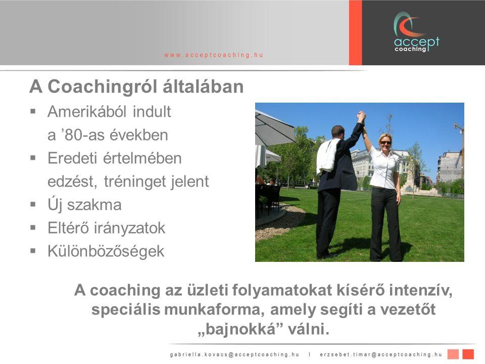 """A Coachingról általában  Amerikából indult a '80-as években  Eredeti értelmében edzést, tréninget jelent  Új szakma  Eltérő irányzatok  Különbözőségek A coaching az üzleti folyamatokat kísérő intenzív, speciális munkaforma, amely segíti a vezetőt """"bajnokká válni."""