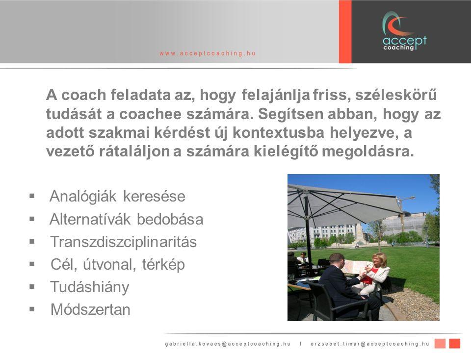A coach feladata az, hogy felajánlja friss, széleskörű tudását a coachee számára.