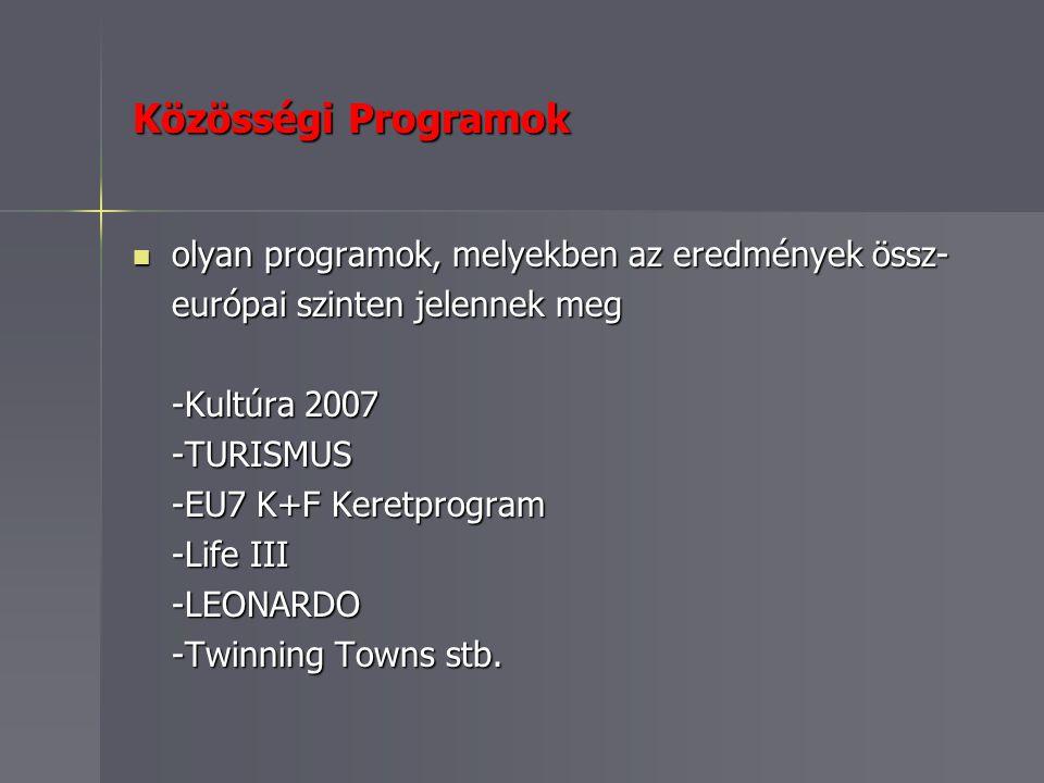 Közösségi Programok olyan programok, melyekben az eredmények össz- olyan programok, melyekben az eredmények össz- európai szinten jelennek meg -Kultúra 2007 -TURISMUS -EU7 K+F Keretprogram -Life III -LEONARDO -Twinning Towns stb.