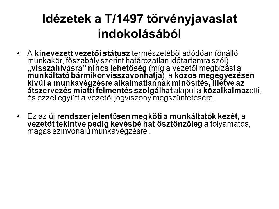 Idézetek a T/1497 törvényjavaslat indokolásából A kinevezett vezetői státusz természetéből adódóan (önálló munkakör, főszabály szerint határozatlan id