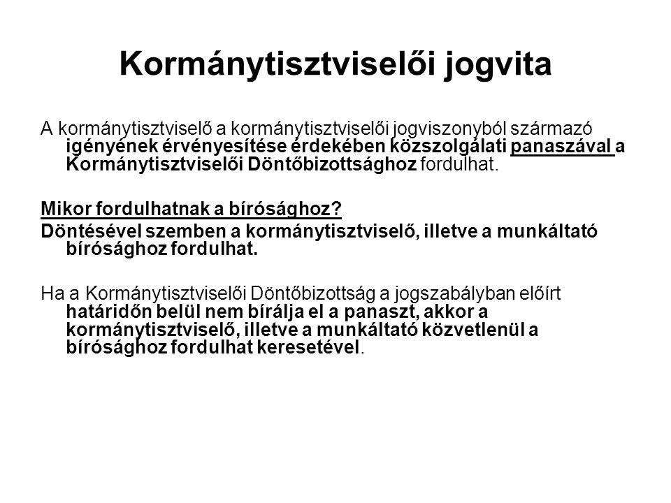 Kormánytisztviselői jogvita A kormánytisztviselő a kormánytisztviselői jogviszonyból származó igényének érvényesítése érdekében közszolgálati panaszáv