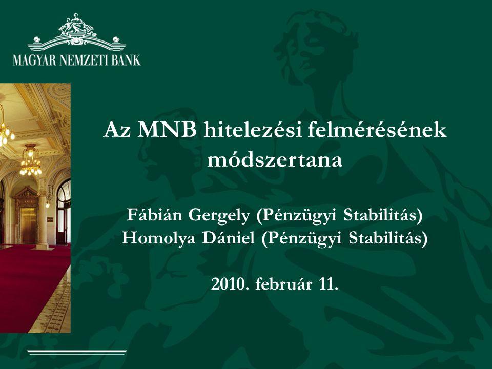 1 Az MNB hitelezési felmérésének módszertana Fábián Gergely (Pénzügyi Stabilitás) Homolya Dániel (Pénzügyi Stabilitás) 2010. február 11.