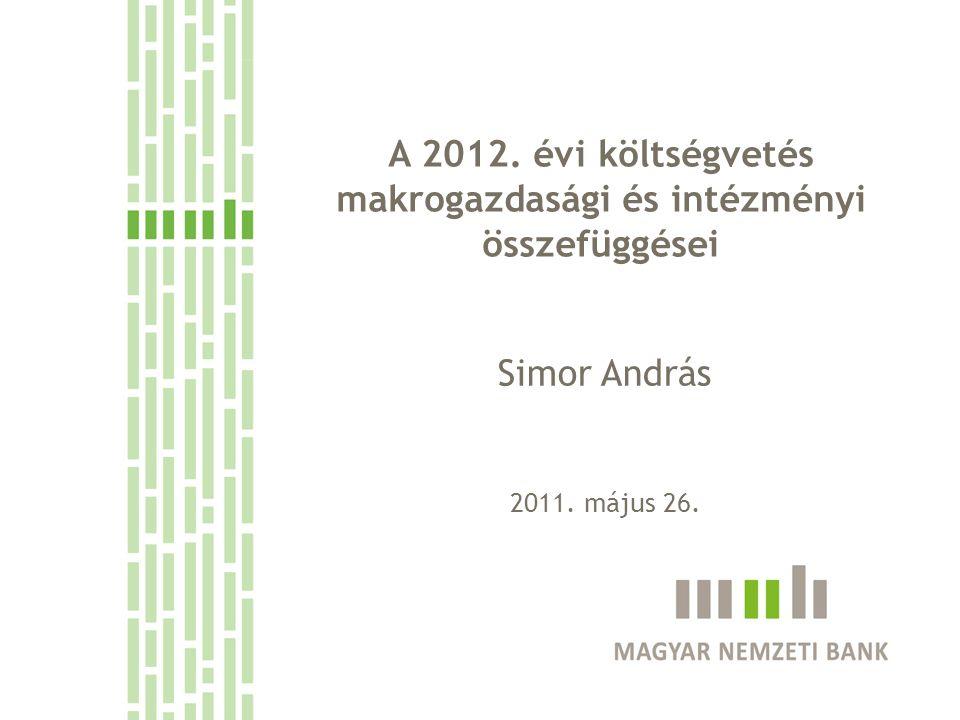 A 2012. évi költségvetés makrogazdasági és intézményi összefüggései Simor András 2011. május 26.