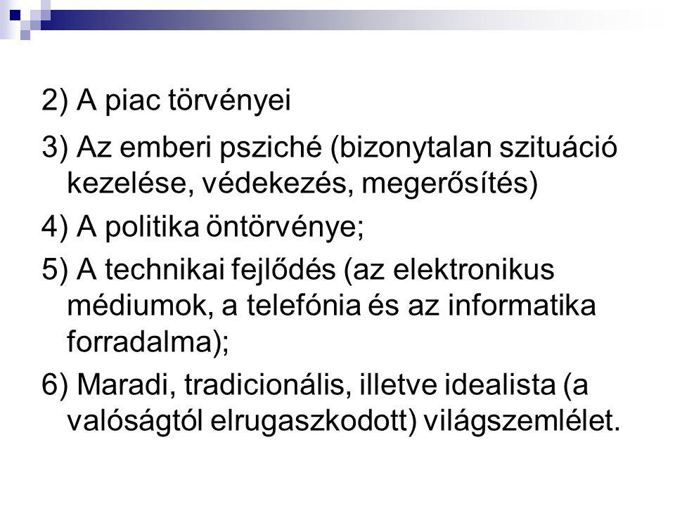 2) A piac törvényei 3) Az emberi psziché (bizonytalan szituáció kezelése, védekezés, megerősítés) 4) A politika öntörvénye; 5) A technikai fejlődés (az elektronikus médiumok, a telefónia és az informatika forradalma); 6) Maradi, tradicionális, illetve idealista (a valóságtól elrugaszkodott) világszemlélet.