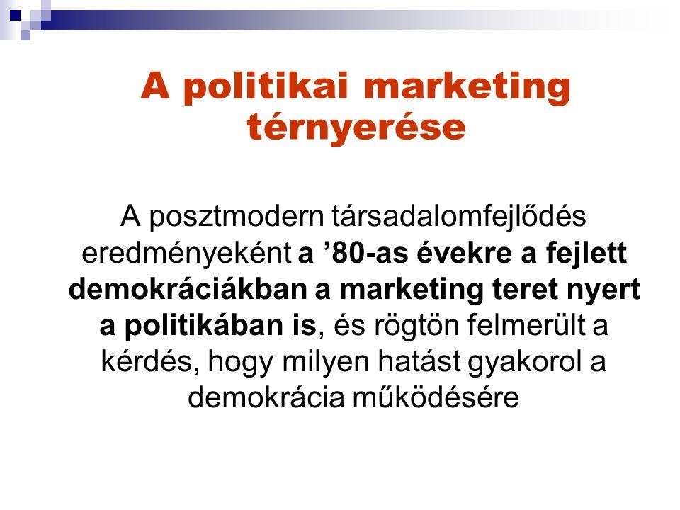 A politikai marketing térnyerése A posztmodern társadalomfejlődés eredményeként a '80-as évekre a fejlett demokráciákban a marketing teret nyert a politikában is, és rögtön felmerült a kérdés, hogy milyen hatást gyakorol a demokrácia működésére
