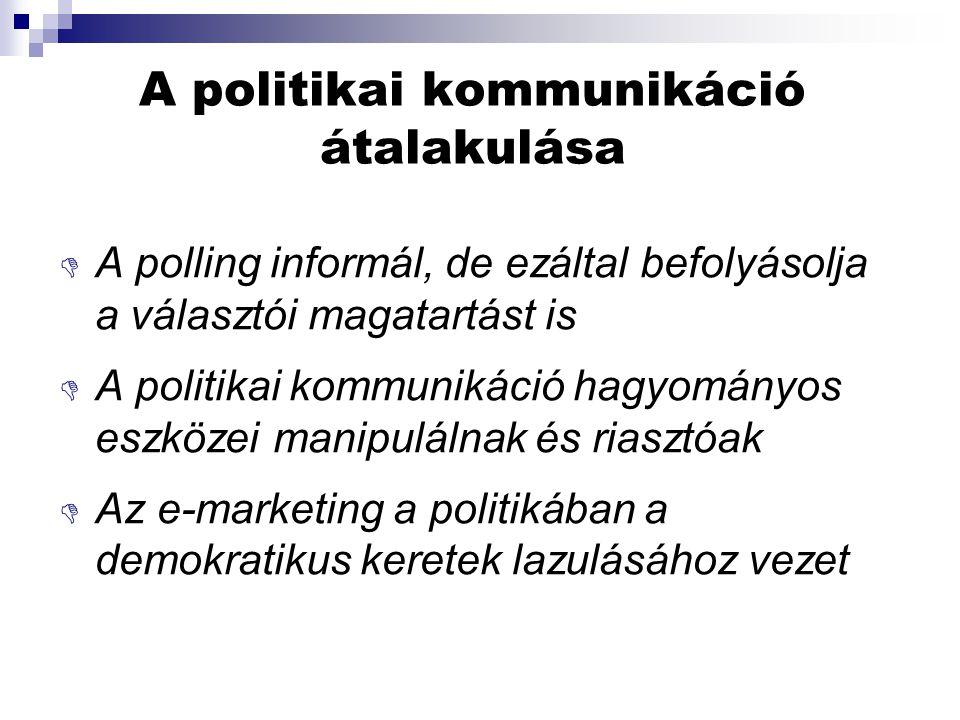 A politikai kommunikáció átalakulása  A polling informál, de ezáltal befolyásolja a választói magatartást is  A politikai kommunikáció hagyományos eszközei manipulálnak és riasztóak  Az e-marketing a politikában a demokratikus keretek lazulásához vezet