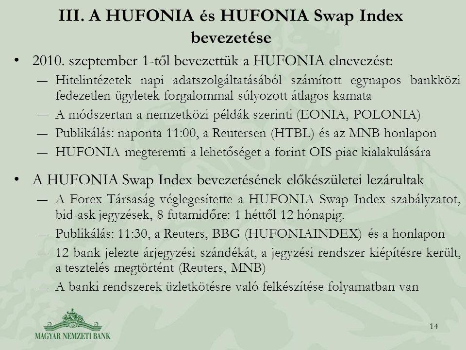 III. A HUFONIA és HUFONIA Swap Index bevezetése 2010. szeptember 1-től bevezettük a HUFONIA elnevezést: ―Hitelintézetek napi adatszolgáltatásából szám