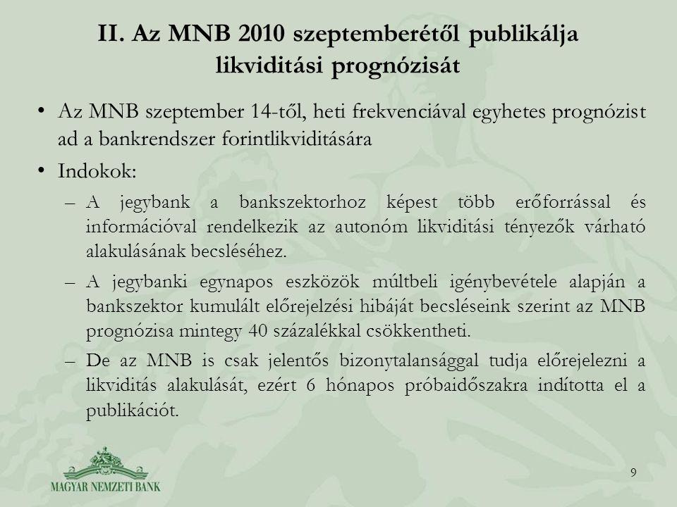 II. Az MNB 2010 szeptemberétől publikálja likviditási prognózisát Az MNB szeptember 14-től, heti frekvenciával egyhetes prognózist ad a bankrendszer f
