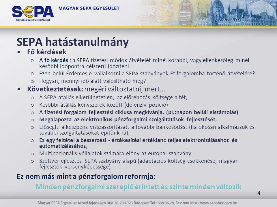 SEPA hatástanulmány Fő kérdések oA fő kérdés : a SEPA fizetési módok átvételét minél korábbi, vagy ellenkezőleg minél későbbi időpontra célszerű időzíteni oEzen belül Érdemes-e vállalkozni a SEPA szabványok Ft forgalomba történő átvételére.