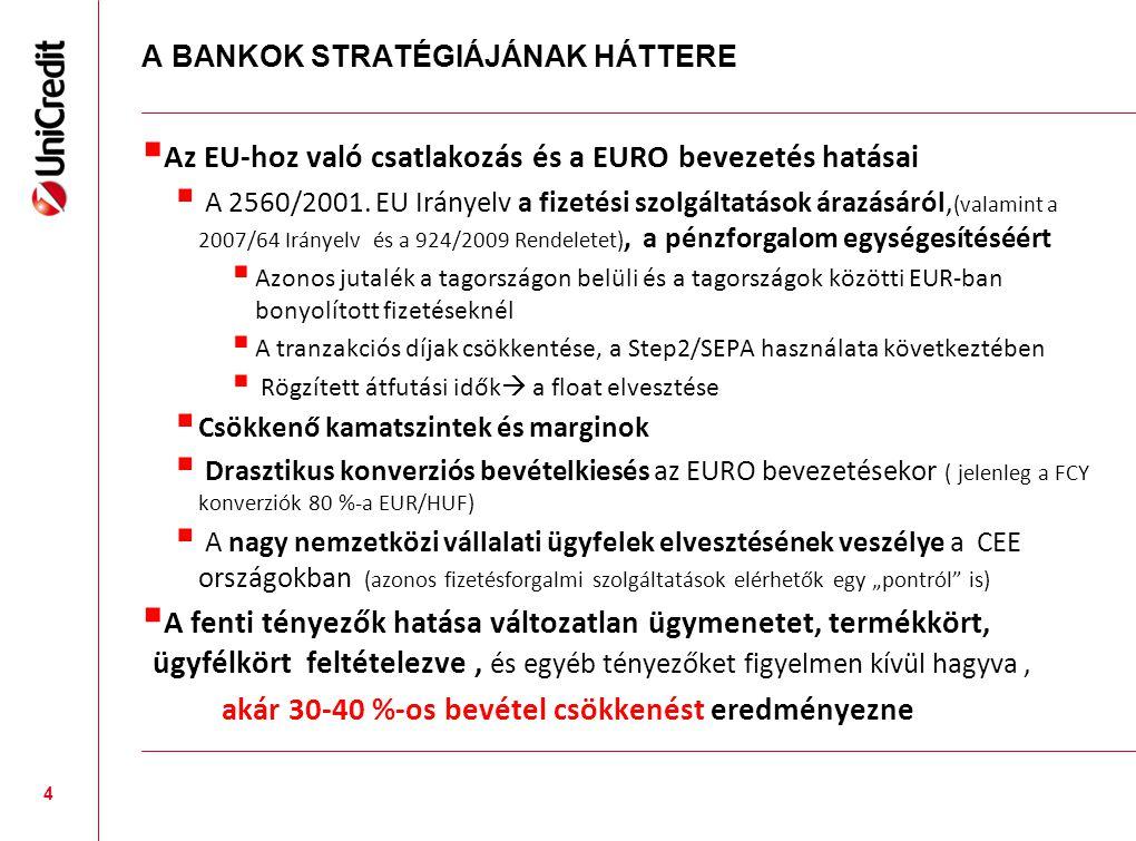 A BANKOK STRATÉGIÁJÁNAK HÁTTERE  Az EU-hoz való csatlakozás és a EURO bevezetés hatásai  A 2560/2001. EU Irányelv a fizetési szolgáltatások árazásár