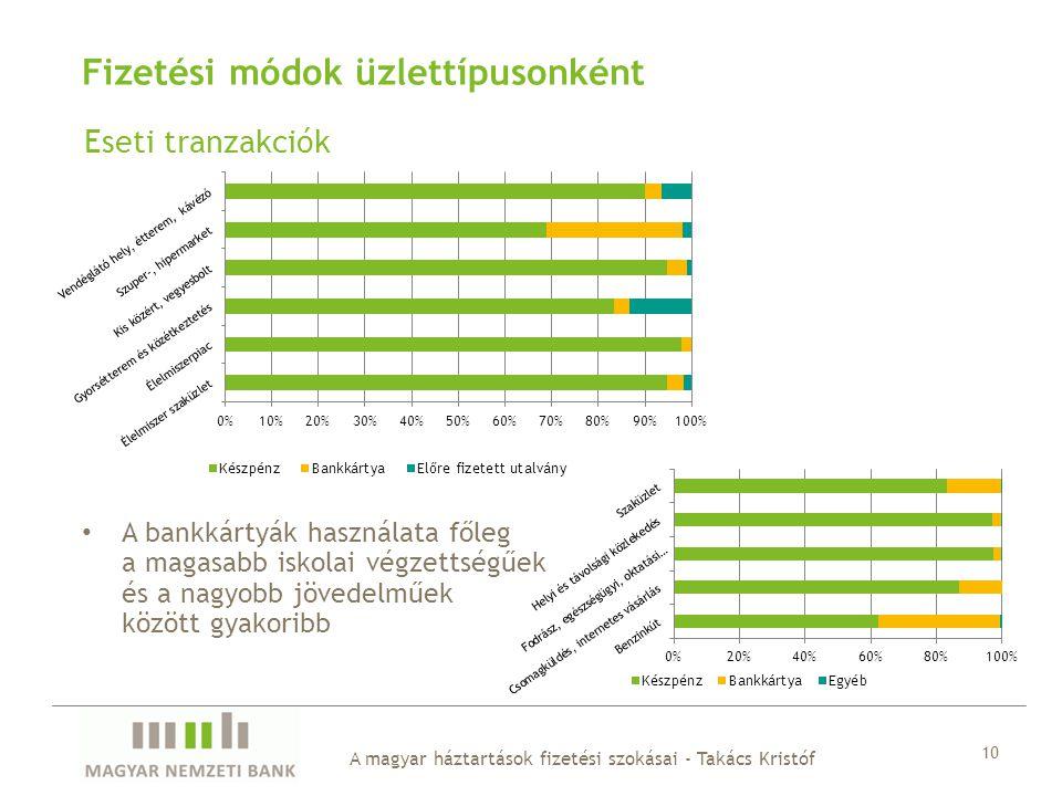 Eseti tranzakciók A magyar háztartások fizetési szokásai - Takács Kristóf 10 Fizetési módok üzlettípusonként A bankkártyák használata főleg a magasabb