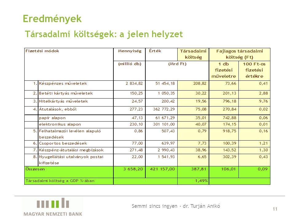 Társadalmi költségek: a jelen helyzet 11 Eredmények Semmi sincs ingyen - dr. Turján Anikó