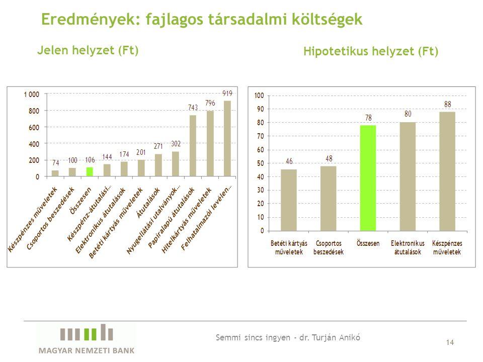 Jelen helyzet (Ft) 14 Eredmények: fajlagos társadalmi költségek Hipotetikus helyzet (Ft) Semmi sincs ingyen - dr.