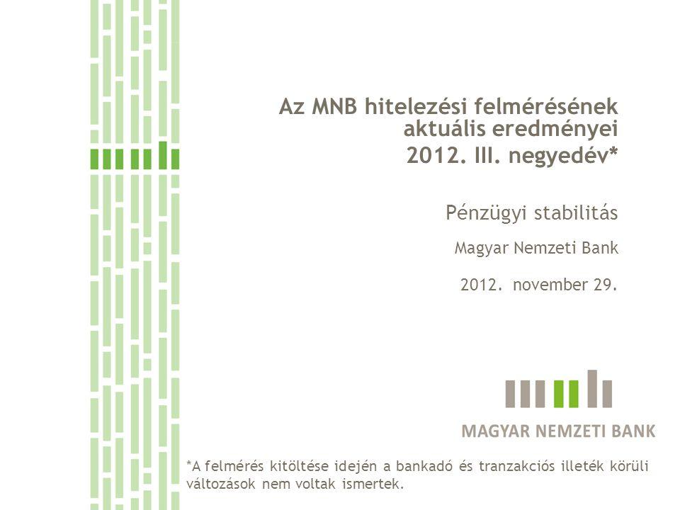 Az MNB hitelezési felmérésének aktuális eredményei 2012. III. negyedév* Pénzügyi stabilitás Magyar Nemzeti Bank 2012. november 29. *A felmérés kitölté