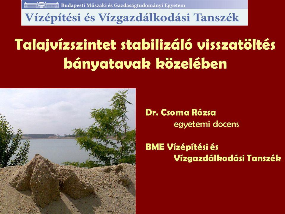 Talajvízszintet stabilizáló visszatöltés bányatavak közelében Dr.