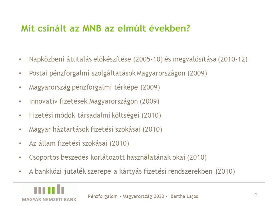 Pénzforgalom - Magyarország 2020 - Bartha Lajos 2 Mit csinált az MNB az elmúlt években? Napközbeni átutalás előkészítése (2005-10) és megvalósítása (2